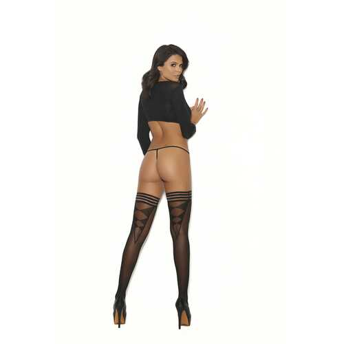 Sheer Thigh Hi With Striped Top - One Size -  Black