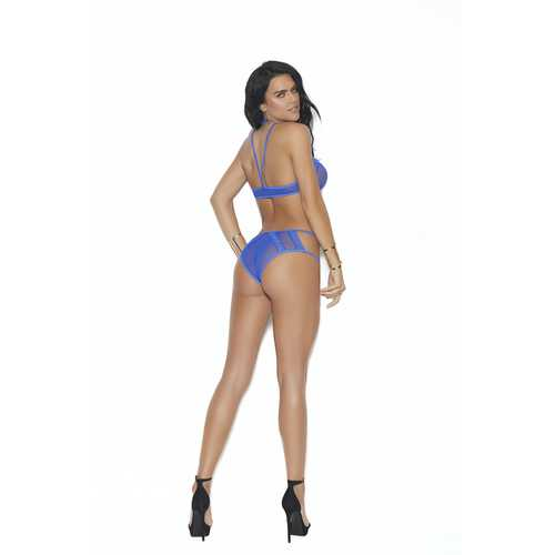 Fishnet Bralette and Panty - One Size - Blue