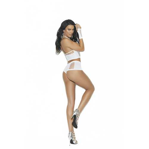 Cami Top, Booty Shorts, and Gloves - One Size -  White