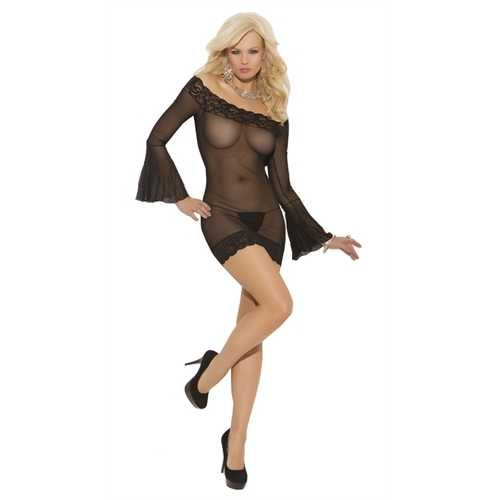 Off the Shoulder Mesh Mini Dress  - One Size - Black