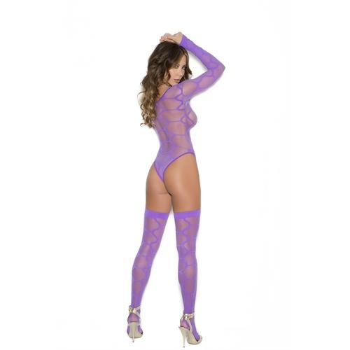 Long Sleeve Teddy and Thigh Highs - One Size - Purple