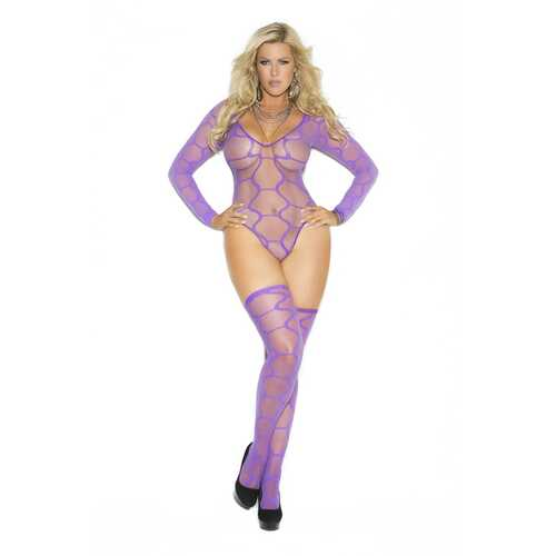 Long Sleeve Teddy and Thigh Highs - Queen Size - Purple
