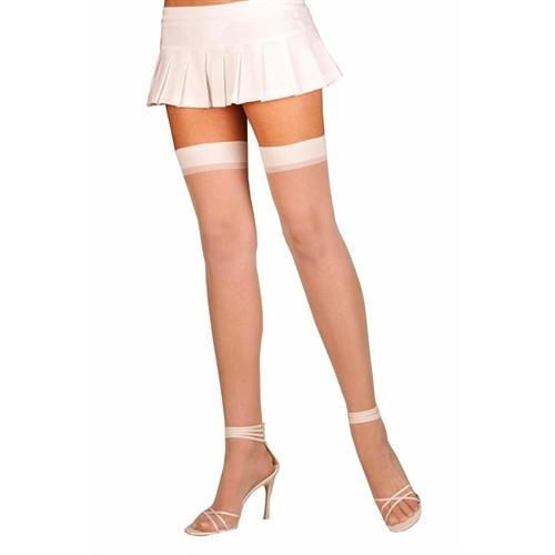 Sheer Thigh High - One Size - White