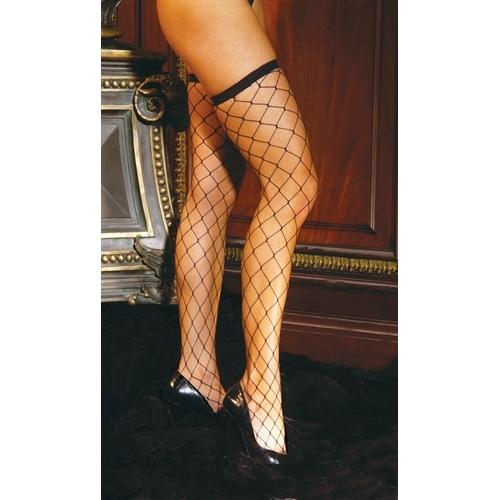 Diamond Net Thigh High - One Size - Black