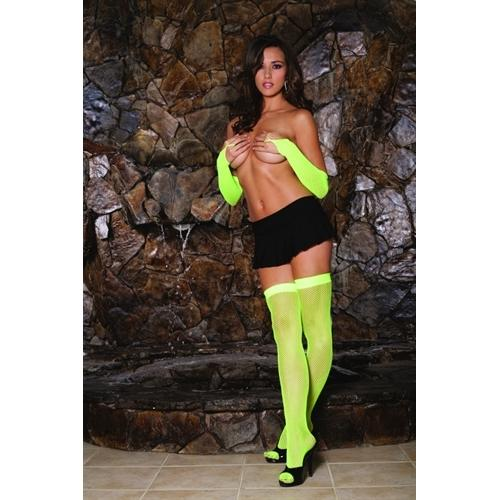 Fishnet Thigh High - One Size - Neon Green