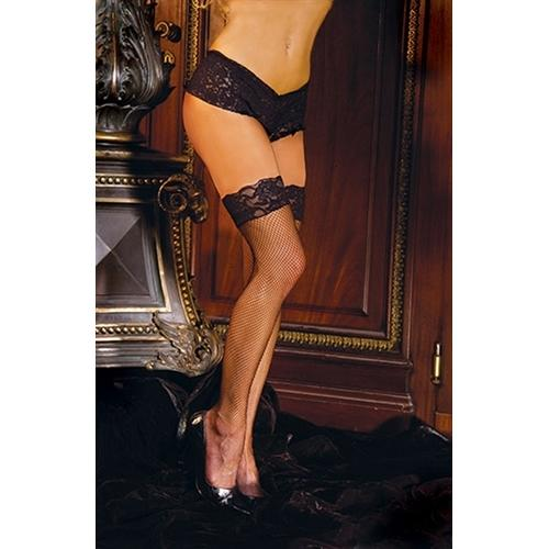 Fishnet Thigh Hi With Lace Top  - Queen Size - Black
