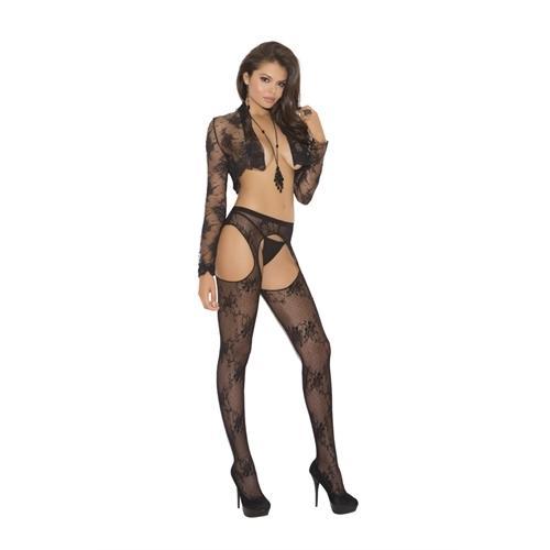 Lace Suspender Panty Hose - Queen Size - Black