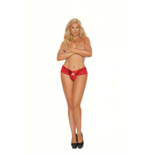 Lace Thong With Keyhole and Satin Bow Front - Queen Size - Red