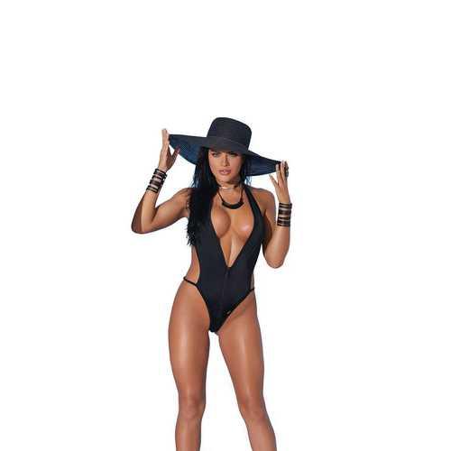 Lycra Zip Front Halter Neck Monokini - One  Size - Black