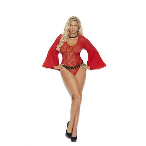 Long Sleeve Lace Teddy - Queen Size - Red