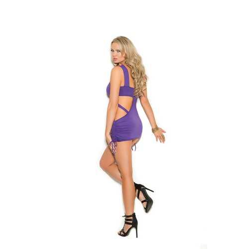 Mini Dress With Scrunch Sides - Purple - Medium