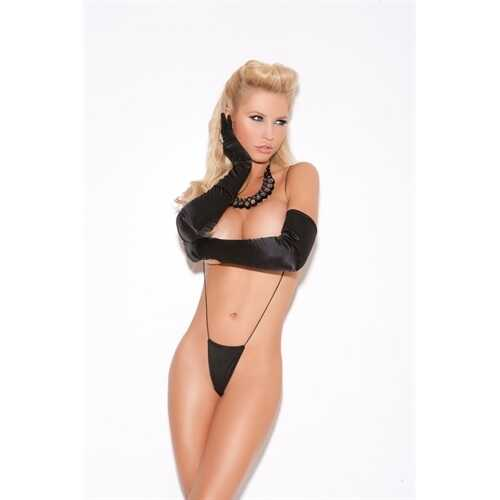 Suspender Thong - One Size - Black