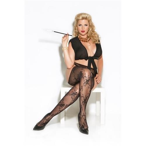 Lace Panty Hosse - Queen Size - Black