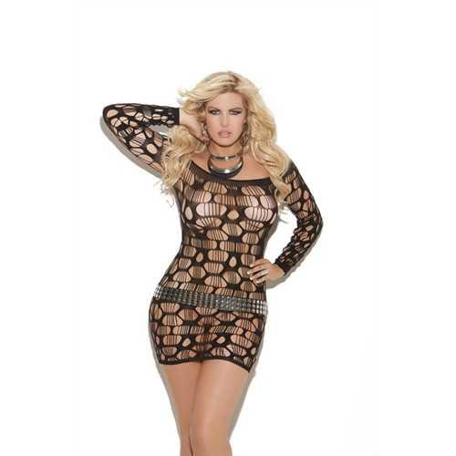Off the Shoulder Net Mini Dress  - Queen Size - Black
