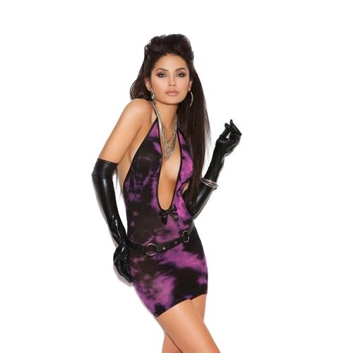 Deep v Tie Dye Mini Dress - One Size  - Black/pink