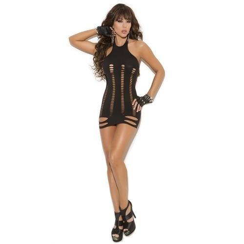 Pot Hole Mini Dress - One Size - Black