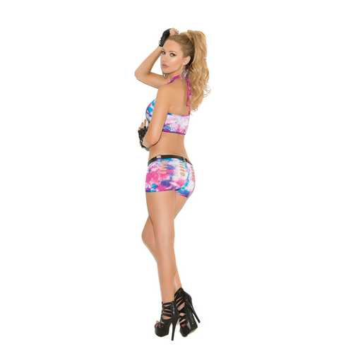 Neon Tie Dye Cami Top and Matching Booty  Shorts With Pothole Detail - One Size