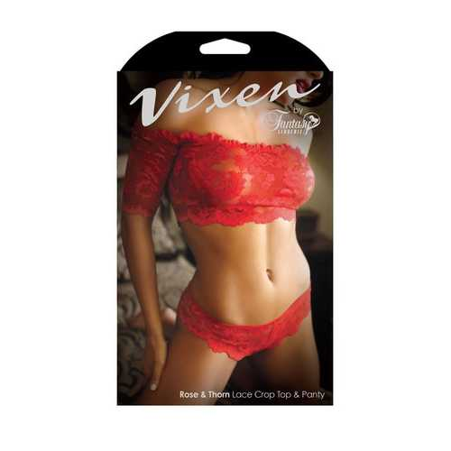 Rose & Thorn Lace Crop Top & Panty - One Size