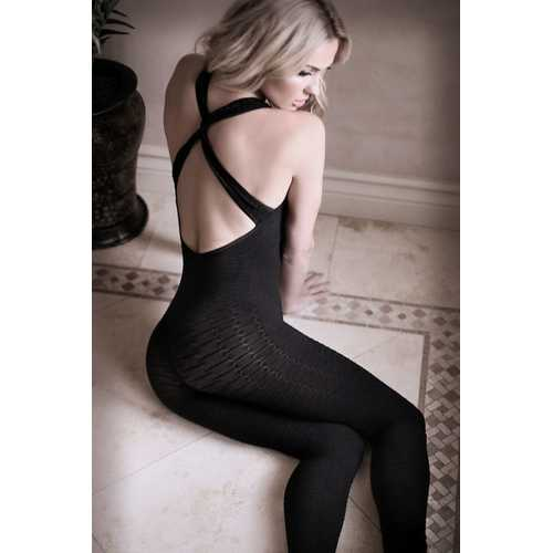 Black to Reality Opaque Textured Bodystocking -  Black - One Size