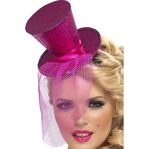 Mini Top Hat on Headband - Hot Pink