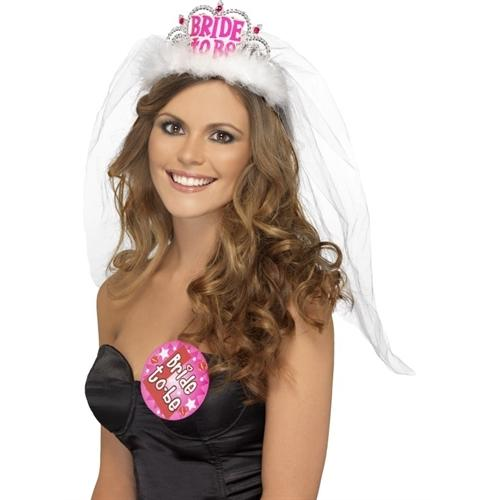 Bride to Be Tiara With Veil - White