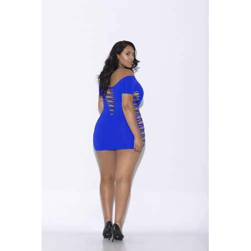 Off Shoulder Mini Dress - Queen Size - Blue