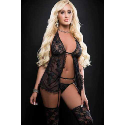 3pc Sensual Sheer Babydoll Open Front Ands Embroidery Applique - One Size - Blackout
