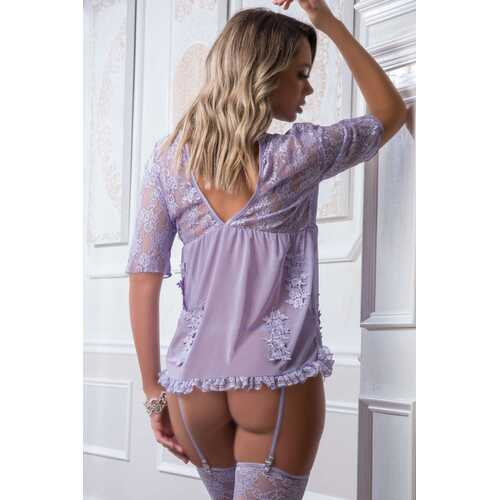 4 Pc. Open Lace and Sheer Embroidered Chemise With  Matching Thong, Stockings, and Garter Belt - Lavender - One Size