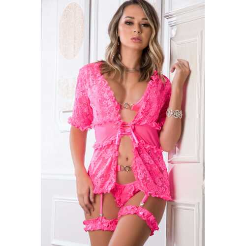 4 Pc. the Ultimate Combination Robe Set - Neon  Pink - One Size