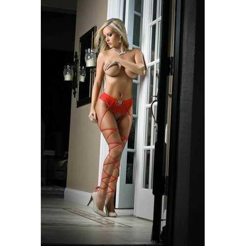Basic Instinct Panty Stocking - One Size - Red