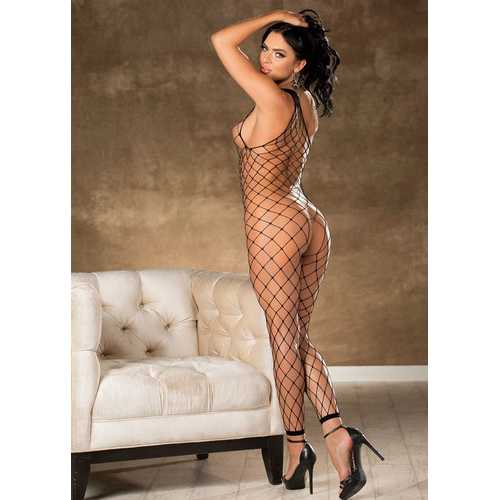 Fishnet Bodystocking With Stones - One Size - Black
