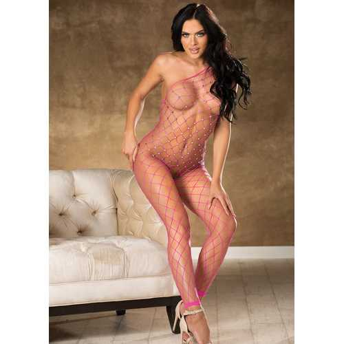 Fishnet Bodystocking With Stones - One Size - Hot Pink