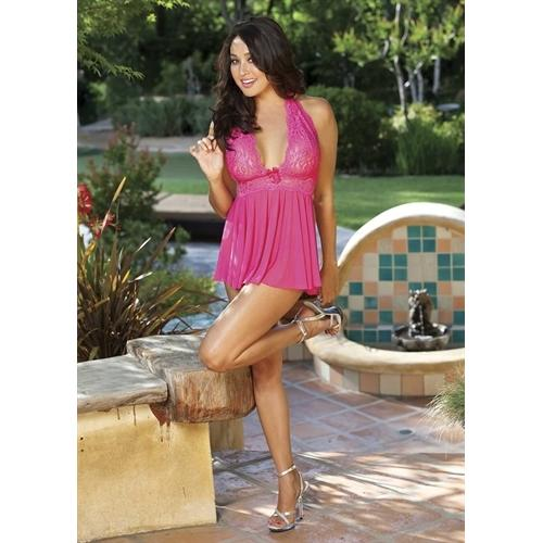 Stretch Mesh and Lace Baby Doll With Bow - One Size - Hot Pink