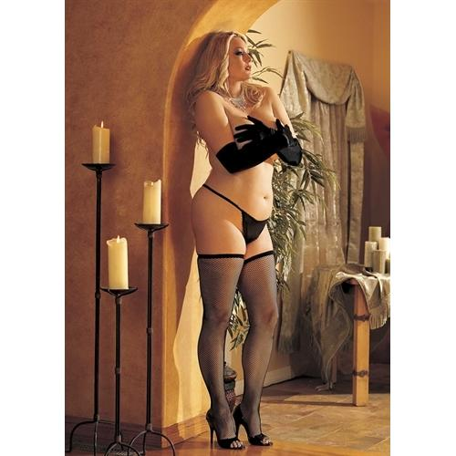 Fishnet Thigh High - Queen Size - Black