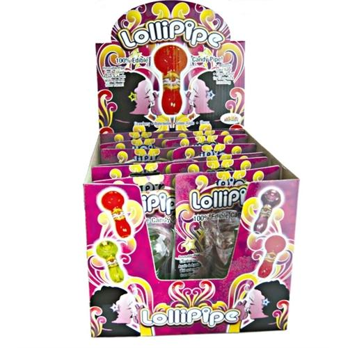 Lollopipes Edible Candy Pipe Assorted Flavors Display 12 Pieces