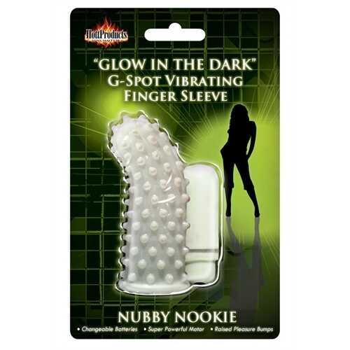 Glow in the Dark Vibrating Nubby Nookie  Finger Sleeve