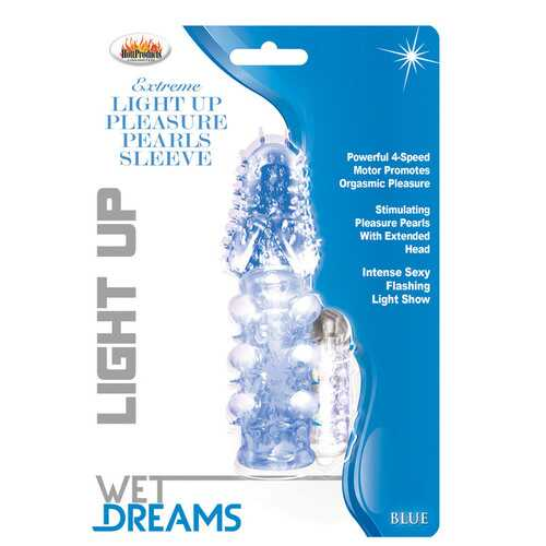 Light Up Extreme Pleasure Pearls Sleeve - Blue
