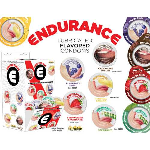 Endurance Condoms - 144 Count Wall Mount Display  - Assorted Flavors