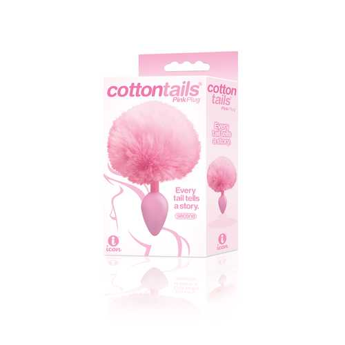 The 9's Cottontails Silicone Bunny Tail Butt Plug  - Pink