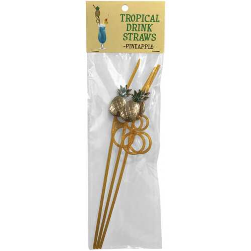 Tropical Drinking Straws - Pineapple - 3 Pack