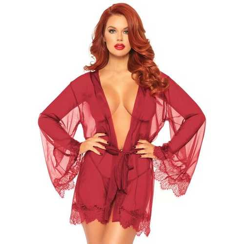 3 Pc Sheer Short Robe With Eyelash Lace Trim and Flared Sleeves - Burgandy - M/l