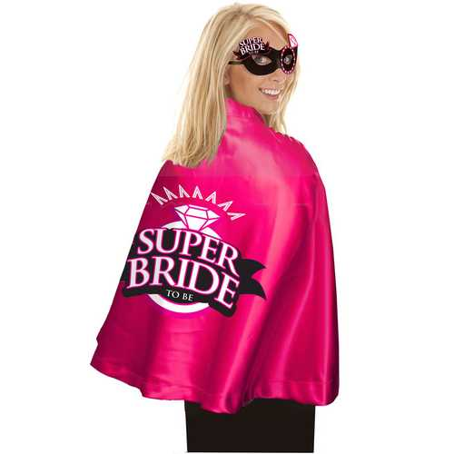 Super Bride Cape and Mask - Hot Pink/black