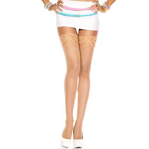 Lace Top Sheer Thigh Hi - One Size - Beige