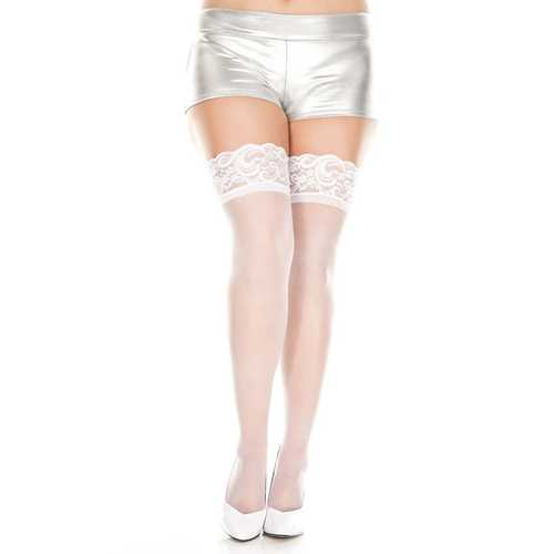 Lace Top Sheer Thigh Hi - Queen Size - White