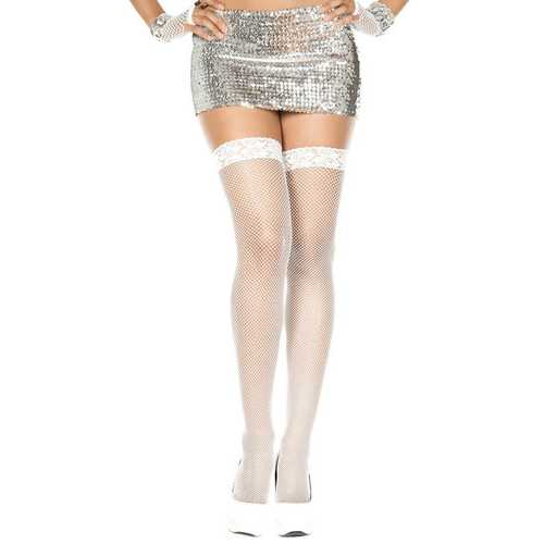 Lace Top Fishnet Thigh Hi - One Size - White