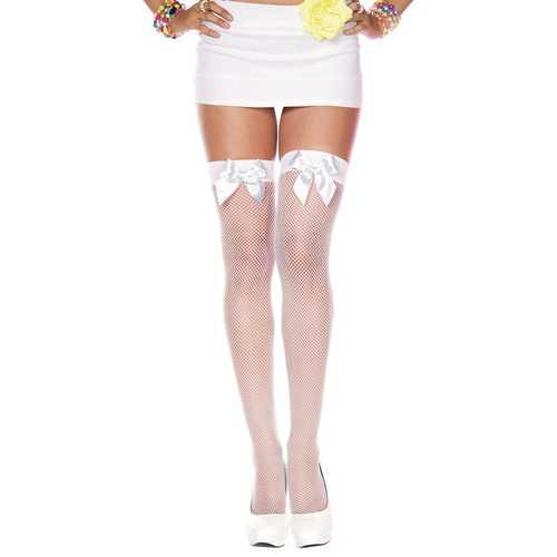 Satin Bow Fishnet Thigh Hi - One Size - White