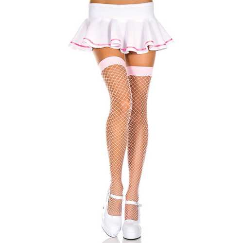 Mini Diamond Net Thigh Hi - One Size - Baby Pink
