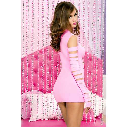 Opaque Long Sleeve Cut Out Front Dress - One Size - Neon Pink