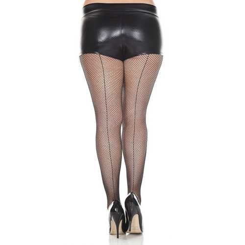 Backseam Fishnet Pantyhose - Queen Size - Black
