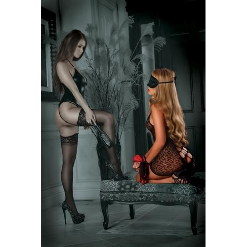 Seamlesss Dress With 3-Piece Bondage Set - Black - One Size